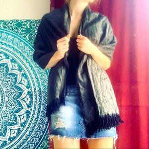 Luxurious charcoal grey fringed shawl